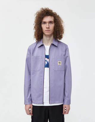 Stussy Zip Up Twill Work Shirt in Lavender