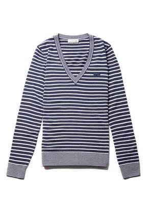 Lacoste Women's V-neck Bicolor Striped Wool Jersey Sweater