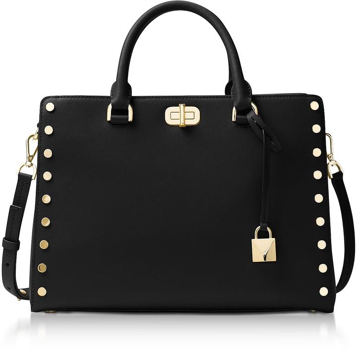 Michael Kors Sylvie Stud Large Black Leather Satchel Bag