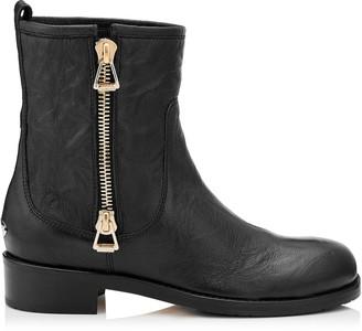 Jimmy Choo DONDO Black Grainy Calf Leather Biker Boots