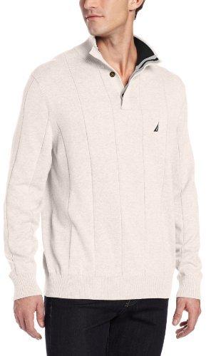 Nautica Men's Drop Needle Button Mock Sweater