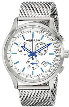 Akribos XXIV Men's AK625SS Round Silver Dial Chronograph Quartz Bracelet Watch