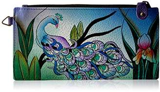 Anuschka Anna by Women's Genuine Leather Organizer Wallet | Hand Painted Original Artwork | Five Credit Card Holders, Drivers License | Midnight Peacock