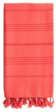 Linum Home Textiles Pestemal Coral Turkish Cotton Fringed and Striped Beach Towel