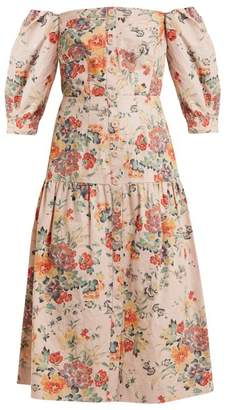 Rebecca Taylor Off The Shoulder Floral Print Cotton Blend Dress - Womens - Pink Print