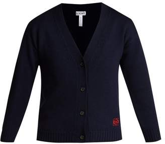 Loewe - Cropped Wool Cardigan - Womens - Navy