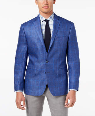 Ryan Seacrest Distinction Men's Modern-Fit Blue Windowpane Linen Sport Coat, Created for Macy's