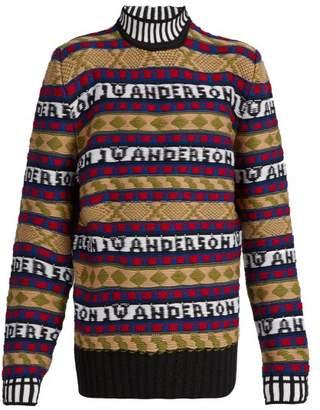 J.W.Anderson Logo Intarsia Fair Isle Sweater - Mens - Multi