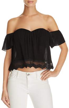 Cotton Candy LA Off the Shoulder Lace Hem Top - 100% Exclusive $58 thestylecure.com
