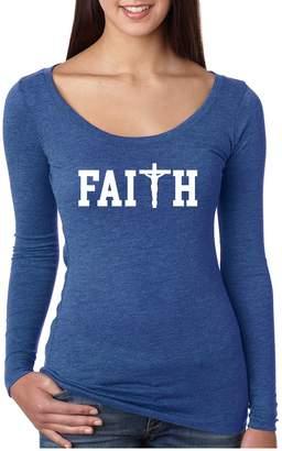 Allntrends Women's Shirt Faith Print Cross Love Christian Shirt (S, )