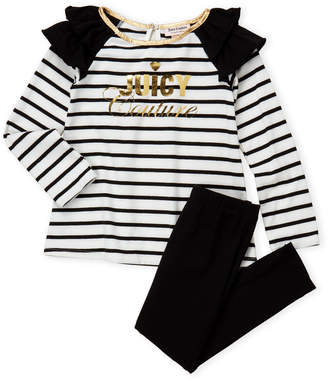Juicy Couture Girls 4-6x) Two-Piece Striped Ruffle Top & Leggings Set