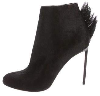 Francesco Russo Round-Toe Pony Hair Booties w/ Tags