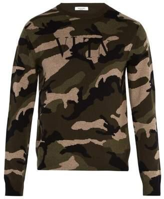 Valentino Logo Intarsia Cashmere Sweater - Mens - Green