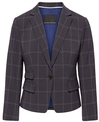 Banana Republic Fitted Crop Windowpane Blazer