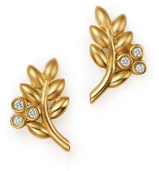 Temple St. Clair 18K Yellow Gold Olive Branch Earrings with Diamonds - 100% Exclusive