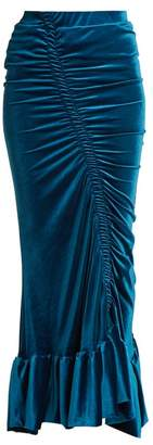 Preen by Thornton Bregazzi Catriona Ruched Stretch Velvet Skirt - Womens - Blue