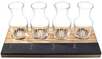 Cathy's Concepts Cathys Concepts 6 Piece Personalized Bamboo and Slate Wine Tasting Flight Decanter Set