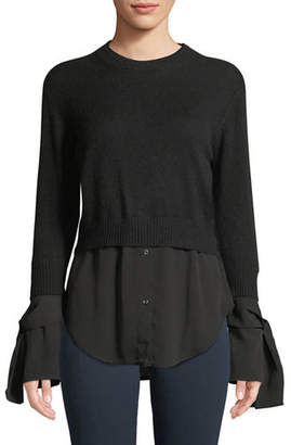 Neiman Marcus Cashmere Georgette-Trim Crewneck Sweater
