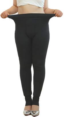 American Trends Womens Plus Size Warm Fleece Lined Leggings Tummy Control High Waistband Tights