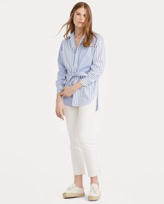 Ralph Lauren Tie-Front Striped Cotton Shirt