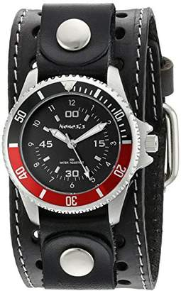 Nemesis Men's Classy Classic Diver Black Stitched Leather Cuff Analog Display Japanese Quartz Watch