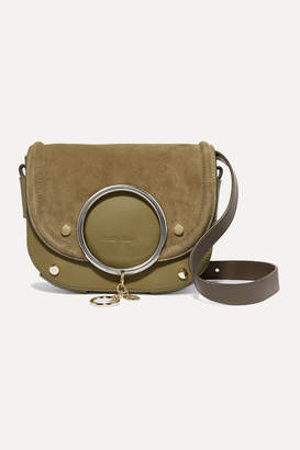 See by Chloe Mara Suede And Textured-leather Shoulder Bag - Army green