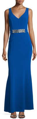 Laundry by Shelli Segal Sleeveless Embellished-Waist Gown, Jubilee Blue