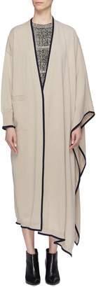 Sonia Rykiel Contrast border asymmetric drape cashmere long cardigan