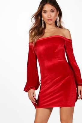 boohoo Velvet Off the Shoulder Bodycon Dress