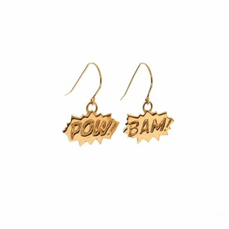 Edge Only POW and BAM Drop Earrings in Gold