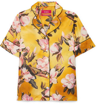 F.R.S For Restless Sleepers Bendis Floral-print Satin-twill Shirt - Yellow