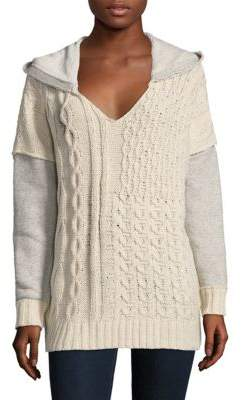 Knit Combo Hooded Sweater