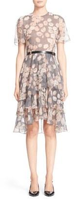 Women's Jason Wu Floral & Glen Plaid Silk Chiffon Tiered Dress $1,895 thestylecure.com