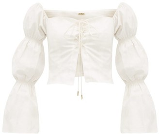 Cult Gaia Claire Gathered Sleeve Cotton Blend Top - Womens - White
