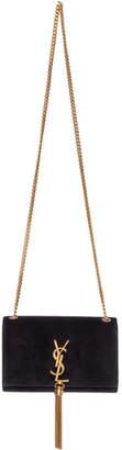 Saint Laurent Black Velvet Small Kate Tassel Chain Bag