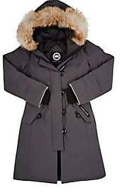 Canada Goose Kids' Brittannia Coyote Fur-Trimmed Coat-Gray