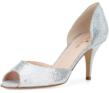 Kate Spade New York Sage Glitter D'orsay Pump, Silver