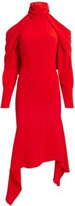 Monse Cold Shoulder Drape Hem Red Dress