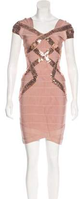 Herve Leger Mini Bandage Dress Champagne Mini Bandage Dress