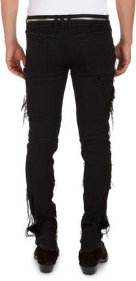 Balmain Zip-Pocket Distressed Slim Jeans
