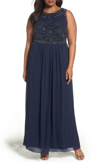 Adrianna PapellPlus Size Women's Adrianna Papell Beaded Chiffon A-Line Gown