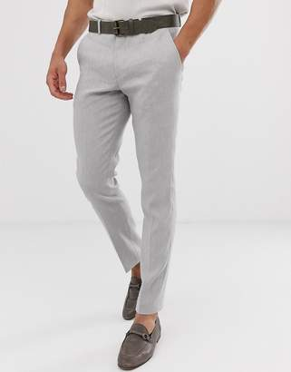 Selected slim suit pant in sand linen stretch