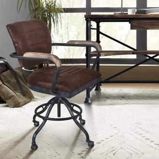 Marelana Megara Modern Office Chair in Industrial Grey Finish and Brown Fabric with Pine Wood Arms