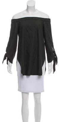 Tibi Tie-Accented Off-The-Shoulder Top
