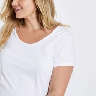 River Island Womens Plus white scoop neck T-shirt