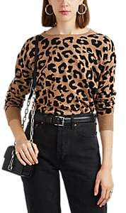 Barneys New York WOMEN'S LEOPARD-PATTERN CASHMERE SWEATER - BROWN SIZE L