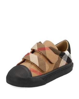 Burberry Belside Check Sneaker, Beige/Black, Toddler/Youth Sizes 10T-4Y