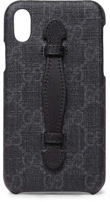 Gucci Leather-Trimmed Monogrammed Coated-Canvas iPhone X Case - Men - Black