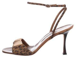 Manolo Blahnik Suede Cheetah Print Sandals