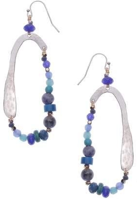 Nakamol Design Hammered Metal & Freshwater Pearl Teardrop Earrings
